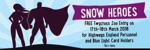 17-18th March Twycross Zoo FREE entry for Highways England Personnel, County Council Highways Personnel, Blue Light Card Holders and NHS Staff ('Snow Hero weekend')