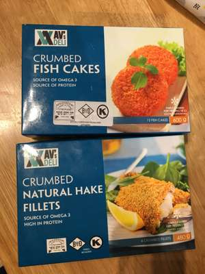 Avs Deli Crumbed fish cakes 12 pack and hake fillets 4 pack now only 0.50p each Tesco Altrincham