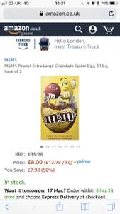 Amazon £8 M&M's Extra Large Easter Egg Pack of 2 (Prime or £12.75 non Prime)