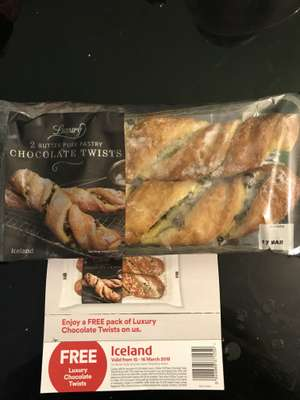 Free Iceland Luxury 2 Butter Puff Pastry Chocolate Twists 180g (in store Stepney)