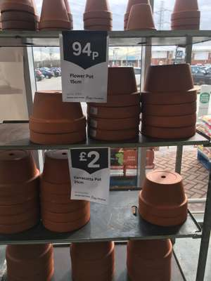 Terracotta pots 31cm £2 15cm 94p Homebase Sheffield drakehouse