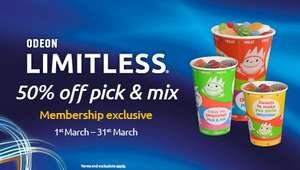 50% off Pick & Mix during March, exclusively for Limitless members @ ODEON