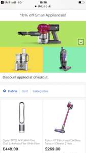 10% off Small Appliances & Floorcare @ AO eBay (Discount applied at checkout)