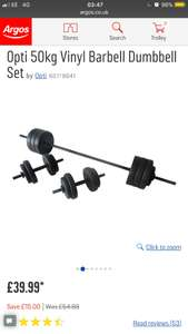 Opti 50kg Vinyl Barbell Dumbbell Set £39.99 at Argos
