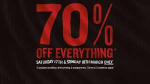 70% off Everything at the Swansea City Football store (Online & Instore) e.g Home Shirt £13.50
