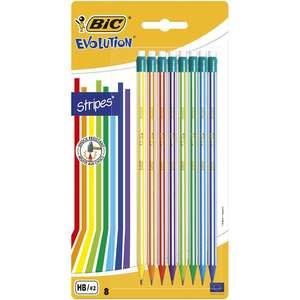 BIC Evolution Stripes HB Graphite Pencils with Eraser 8 Pack for 50p @ Wilko