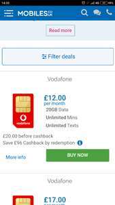 all unlimited with 20GB Vodafone £20 p/m 12 months £240 - (£96 Cashback by redemption) @ Mobiles.co.uk