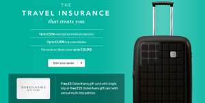 £5 Gift Card For Single Trip / £15 Gift Card For Multi-Trip Insurance + 10% OFF CODE & TCB/Quidco @ Debenhams Insurance
