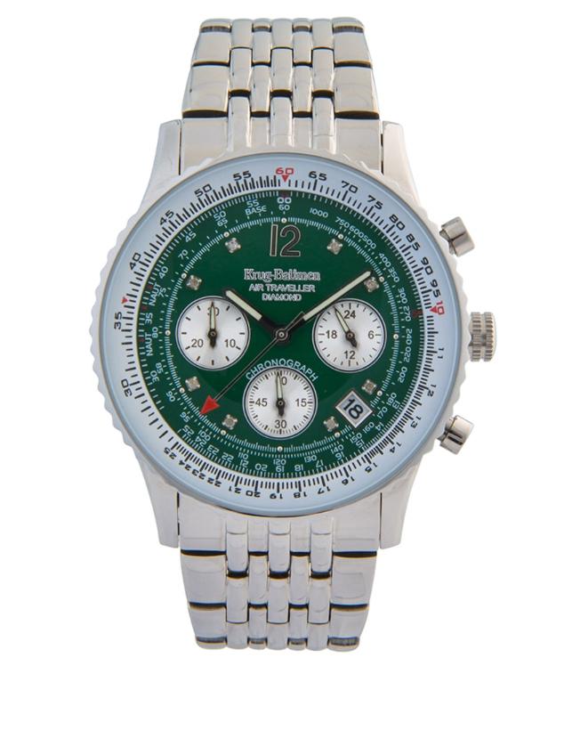 Krug-Baumen Air Traveller Green Dial Stainless Steel Strap 400308DS £65 @ Watches2u
