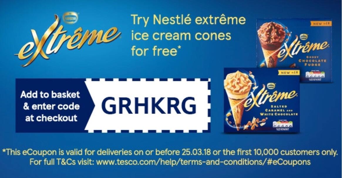 FREE Nestle Extreme Ice Cream Cones X4 at Tesco         W /code GRHKRG (salted caramel white / chocolate fudge / raspberry double cream / smooth vanilla ) RRP £3.00