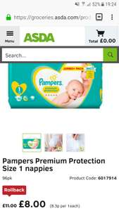 Pampers size 1 nappies (96) - £8 @ Asda
