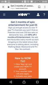 2 months now TV entertainment pass £5 new customers