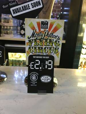 Monty Python's Flying Circus Black Sheep beer Weatherspoons (Ashby De la Zouch) £2.19