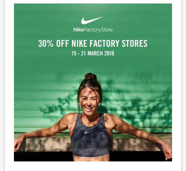 30% off at Nike McArthurGlen outlets