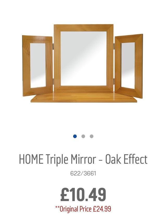 Argos: triple mirror oak effect - £10.49