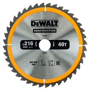 DEWALT DT1953 216 mm x 30 mm x 40 Teeth Construction Circular Saw Blade £11.58 prime / £16.33 non prime @ Amazon