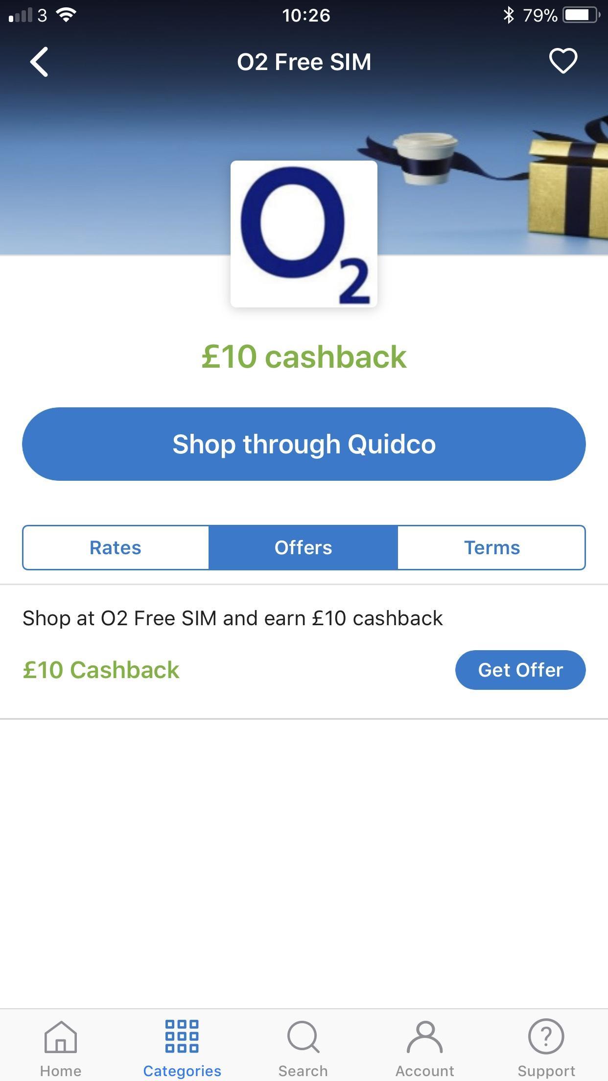 Earn £10 cashback through via Quidco for ordering a free o2 sim