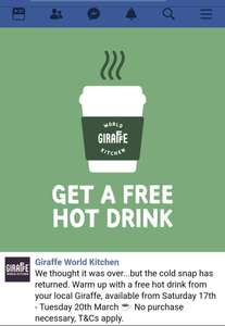 FREE hot drinks at Giraffe Restaurant near you!