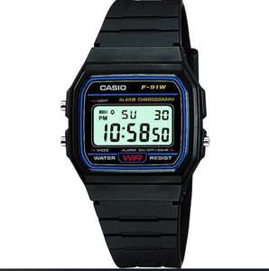 Casio Classic F-91W-1YER LCD Classic Digital Watch with Chrono, Timer, Alarm, LED etc. Water Resistant - Black , delivered for £7.82 @ 7dayShop