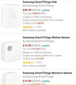 Samsung smartthings up to 50% off at Amazon - the hub is only £49.99