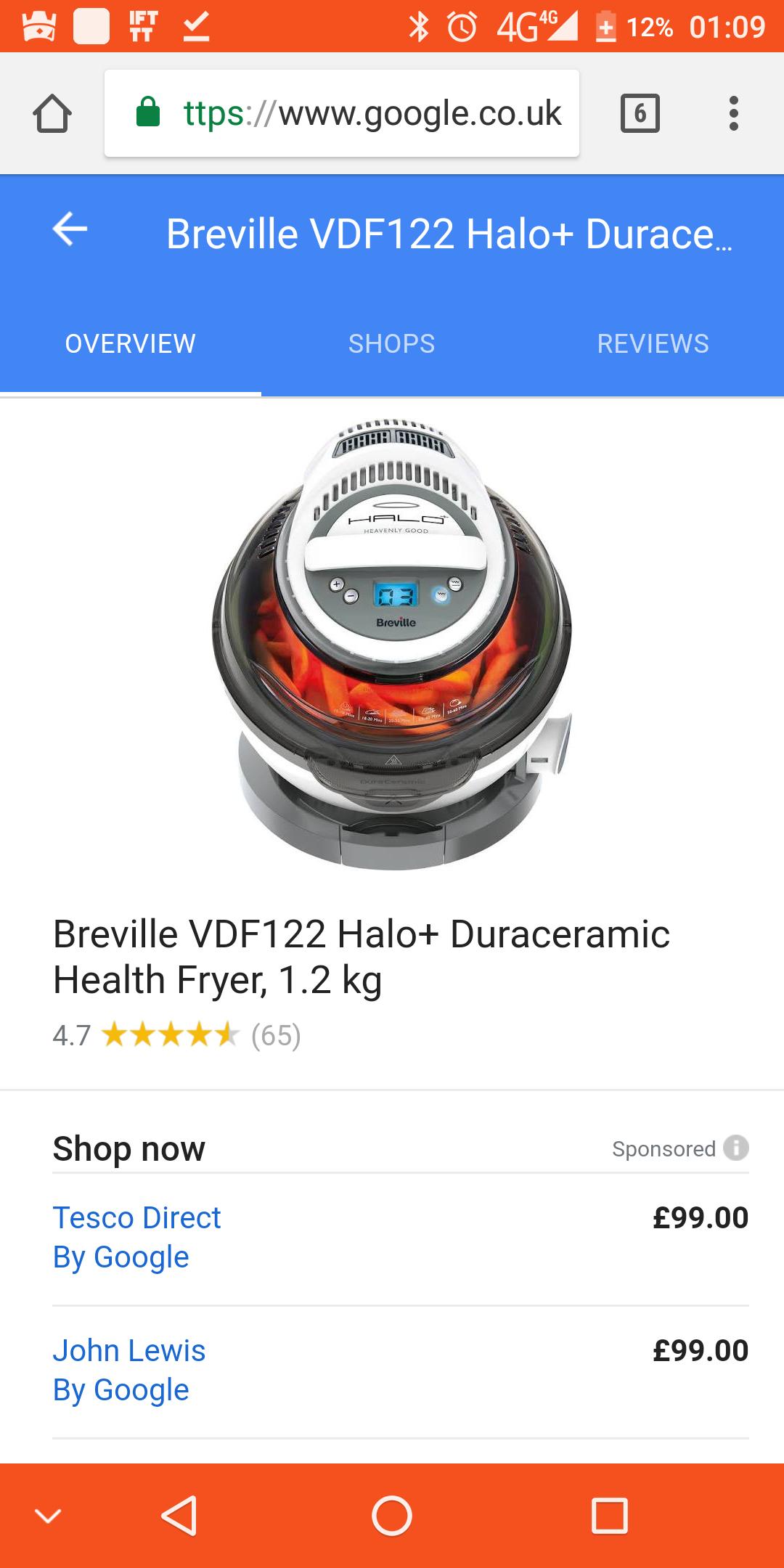 Breville VDF122 Halo+ Duroceramic Health Fryer £69.99 at Amazon