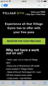 FREE visit pass to Village gym and leisure