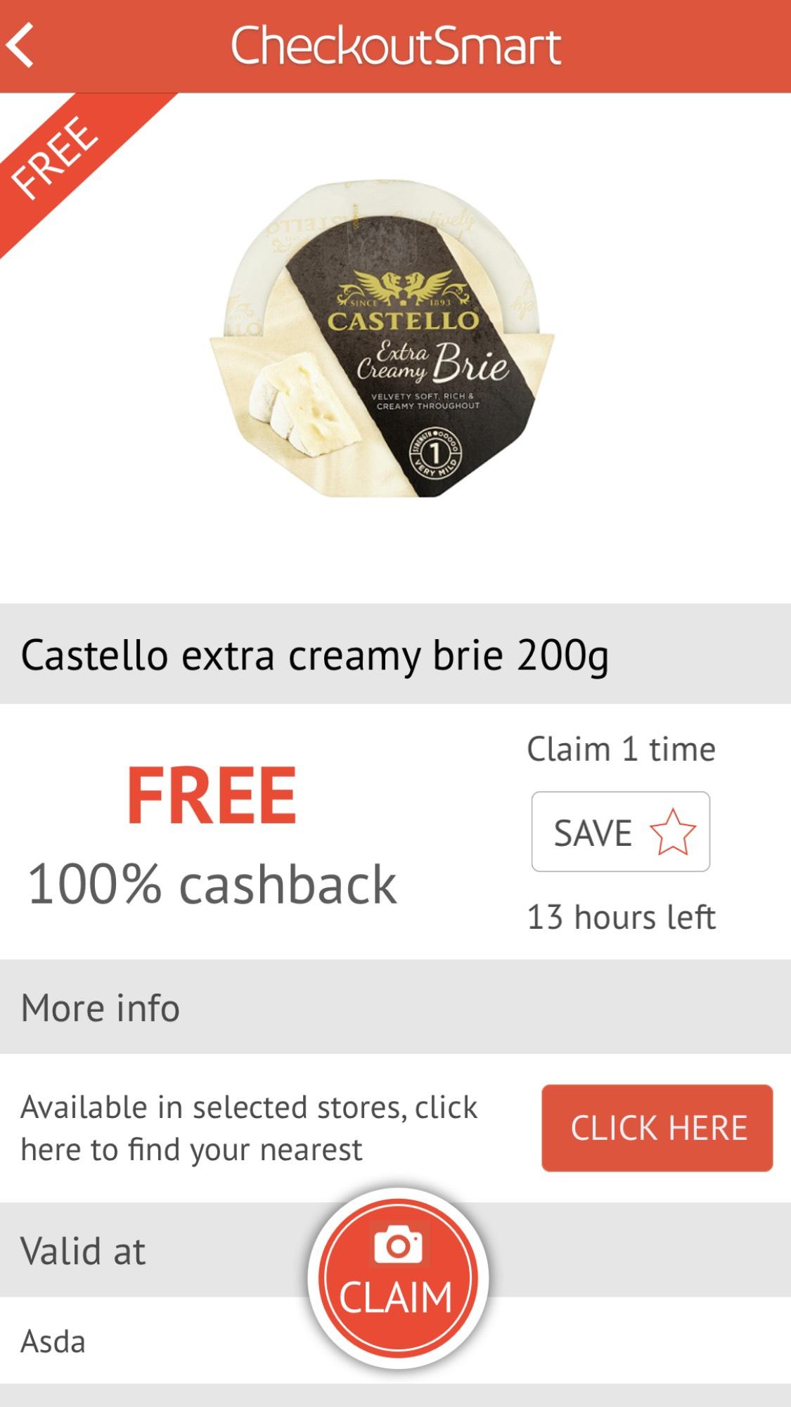checkoutsmart free castello extra creamy brie 200g £1.50 @ Asda