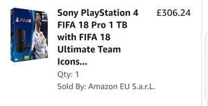 PS4 PRO with Fifa 18 £244.99 Used but like new Amazon warehouse