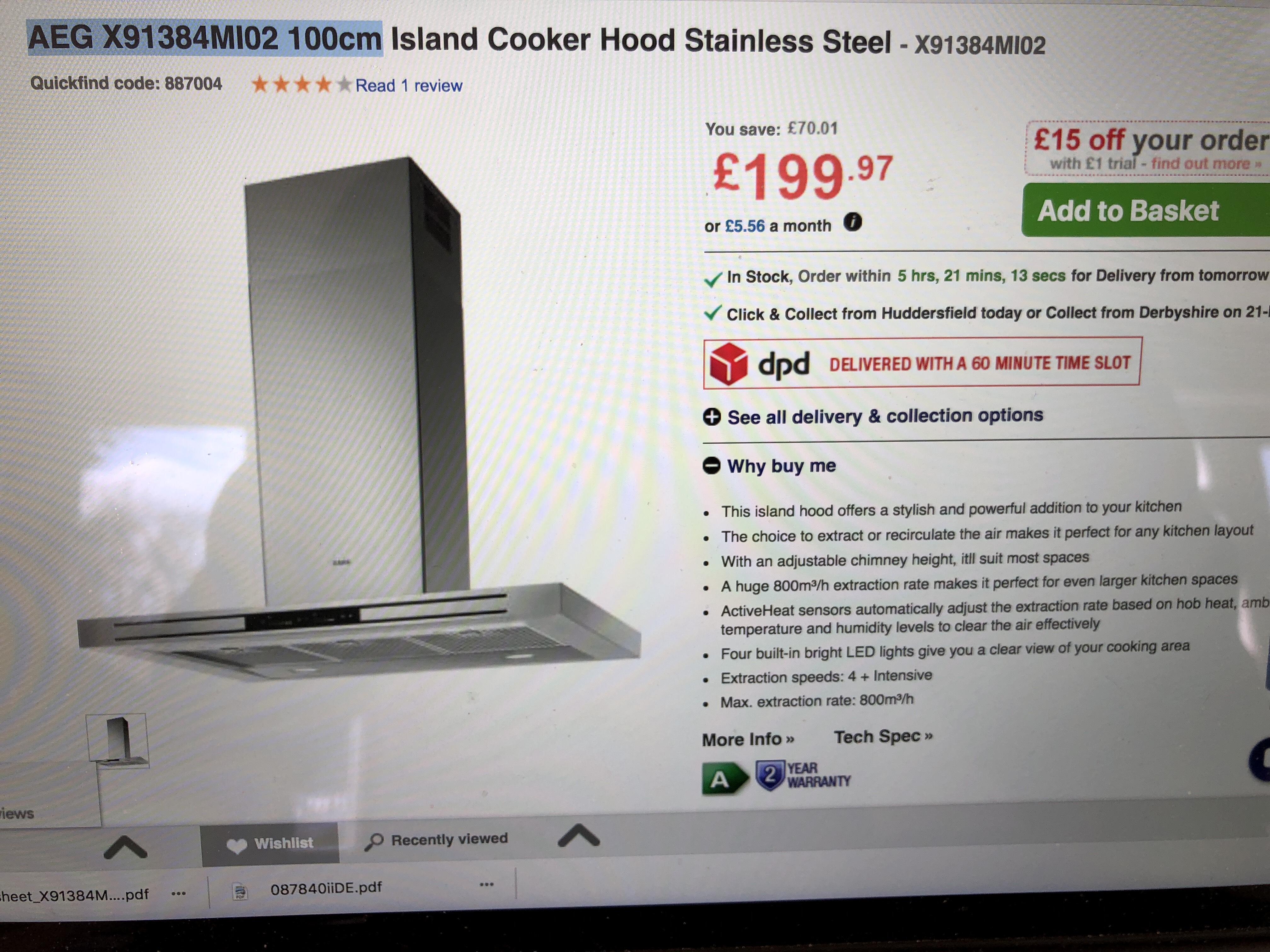AEG X91384Mi02 100cm hood - £199.97 at Appliances Direct