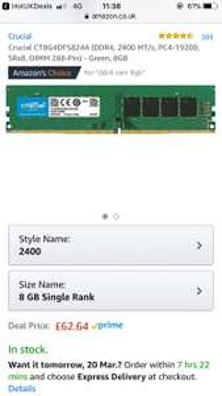Crucial CT8G4DFS824A 8gb 2400mhz RAM £62.64 @ Amazon