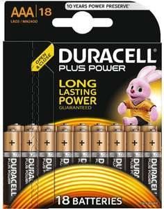 Duracell Plus Power Type AAA Alkaline Batteries, pack of 18.Lightning deal/ one day only!!!! £7.99 Prime. £11.98 non prime @ amazon. Also same price for AA