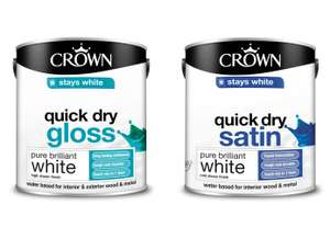 Crown Breatheasy Pure Brilliant White - Quick Drying Gloss Paint / Satin Paint 2.5L for £10 @ Homebase