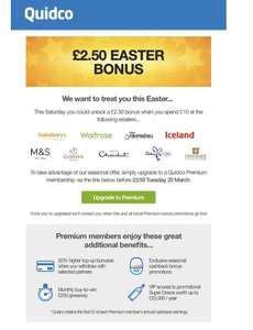 £2.50 Easter bonus with Quidco premium accounts when spending £10 at retailers in picture