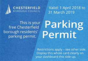 FREE parking at Chesterfield, Derbyshire (eligible residents only)