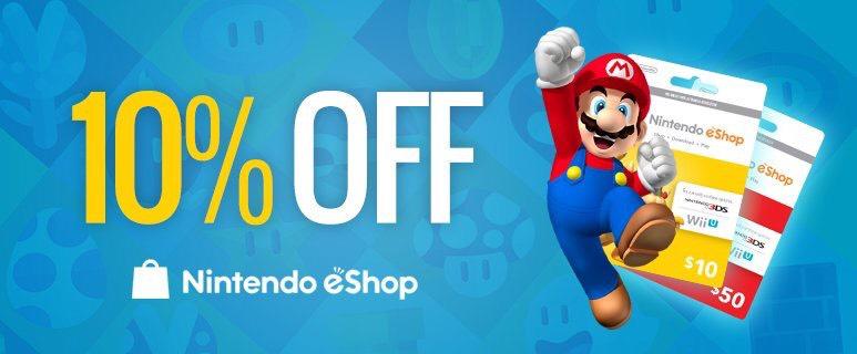 10% off all Nintendo eShop vouchers USA&Canada PCGAMESUPPLY