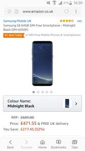 Samsung S8 64GB SIM-Free Smartphone - Midnight Black (SM-G950F) £471.55 @ Amazon sold by Samsung uk