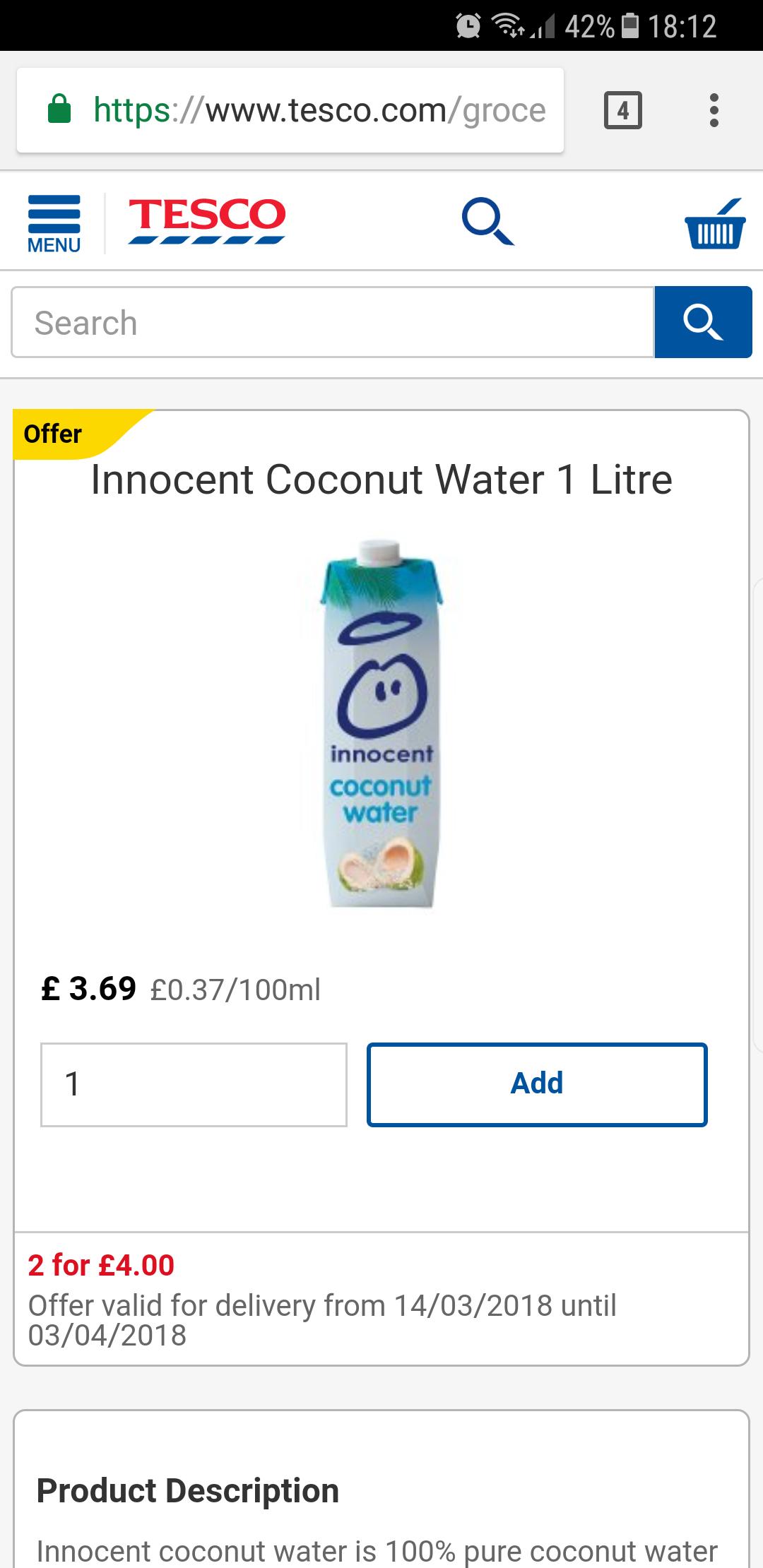 Innocent coconut water 1l £2 @ Tesco