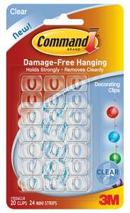 3M Command Clear Decorating Clips x20 with Clear Strips x24 only 75p @ Wilko