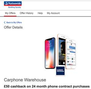 Nationwide Rewards £50 cashback on 24 month phone contracts at Carphone warehouse