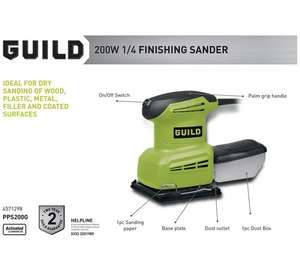 Guild 1/4 sheet small sander with 2 year warranty reduced to just £16.66 at Argos (was 24.99, 1/3 off!).  Also detail sander at same price.