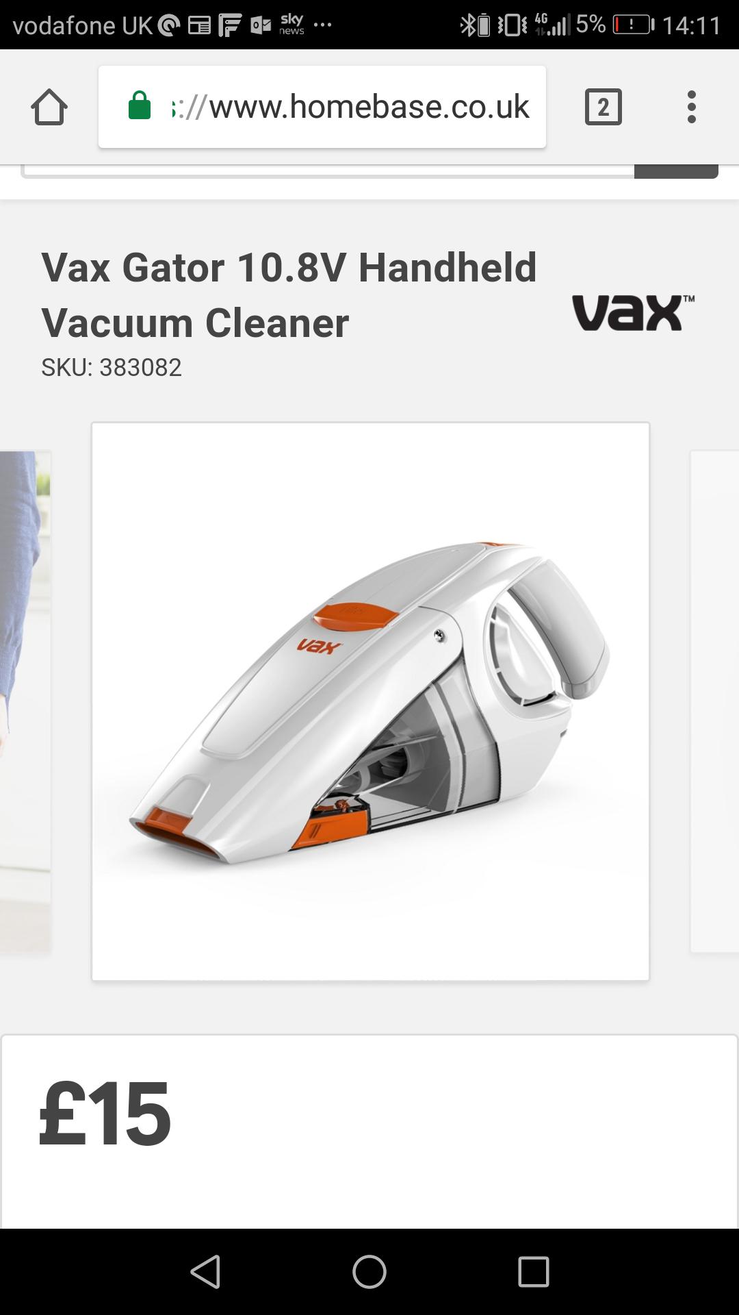 Vax Gator 10.8V handheld vacuum £15 @ Homebase
