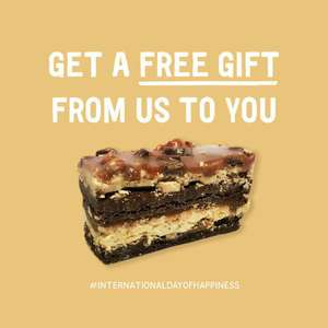 Free peanut butter and chocolate fudge bar at Giraffe Restaurants