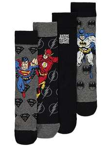 DC Comics pack of 4 MENS justice league socks,shoe size 9-12 limited stock £3 @ Asda