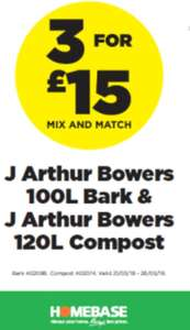 3 For £15 - 120L compost + 100L bark (mix and match) @ Homebase