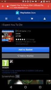 PSVR I Expect You To Die £7.99 - PSN