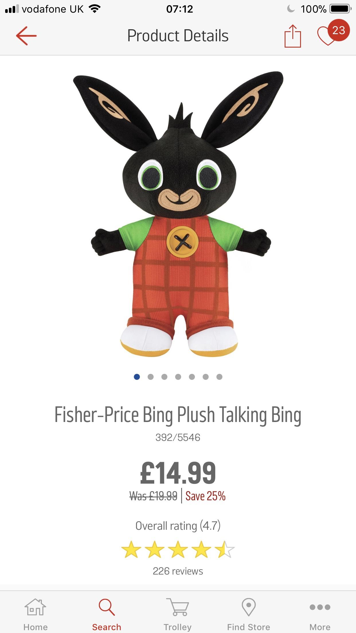 Fisher price talking bing bunny £14.99 Argos