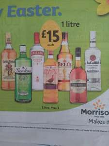 Various 1 Lt Bottles of Spirits £15 @ Morrisons ( Instore) Gordons Gin, Smirnoff Vodka, Russian Standard Vodka, Captain Morgan's Spiced Gold Rum, Famous Grouse Whisky, Bells Whisky, Grants Whisky, Three Barrels Brandy, Bacardi, Baileys Irish Cream