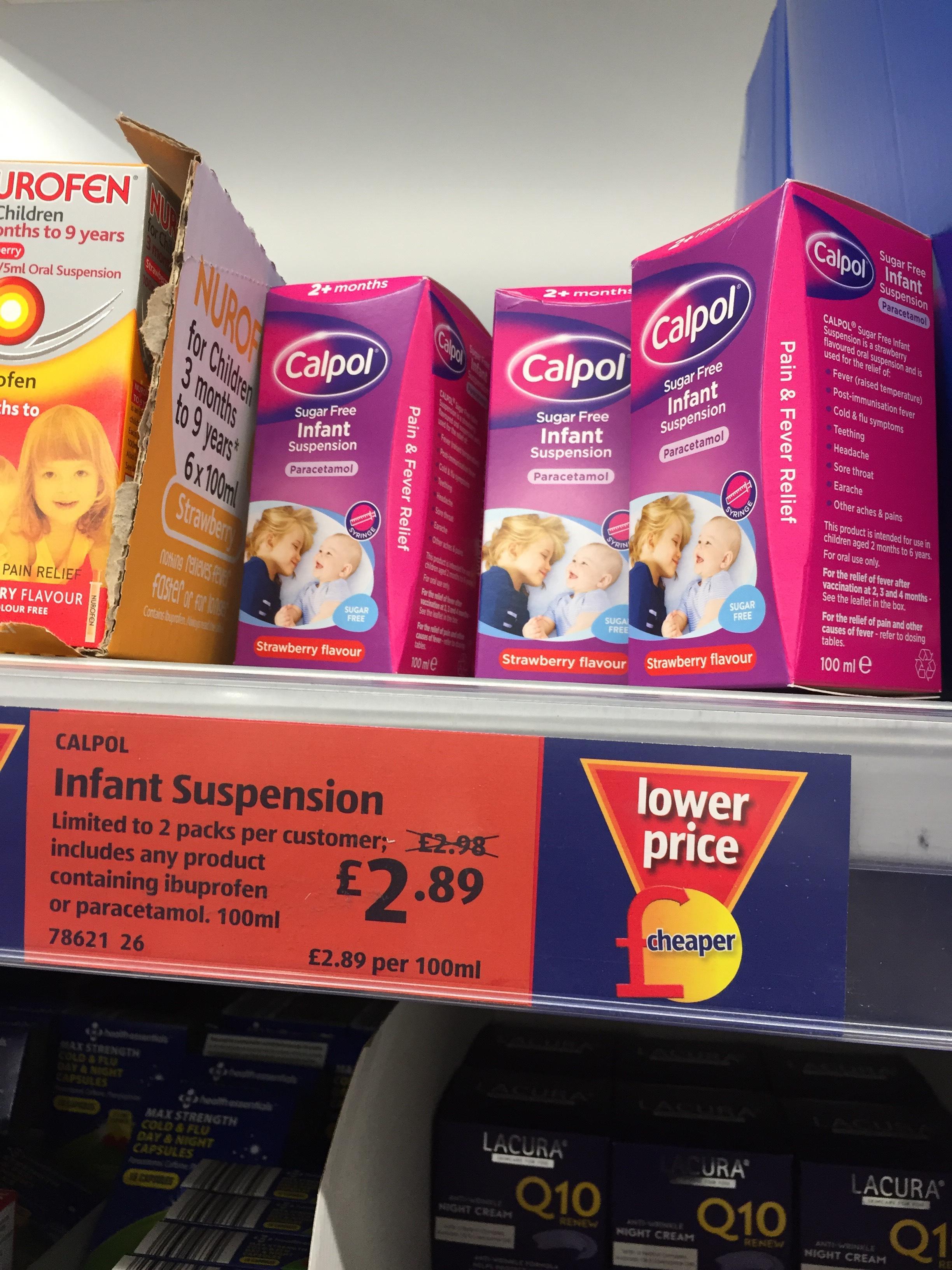 Calpol for infants £2.89 ALDI