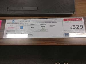 "Hp 14"" laptop with 256 SSD drive £329 @ Currys instore"