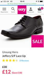 Unsung hero men's black formal leather shoes £12 at very (free click n collect delivery)